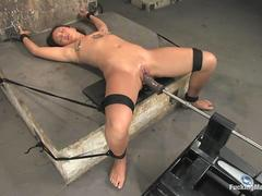 Bamboo GF Jandi shackled spread eagled machine fucked and tasered