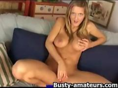 Hot chick Ryana toying her shave pussy