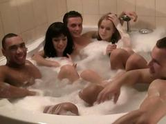 Corporate group orgy in a sauna video 2