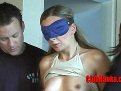 Two guys one girl having fun at hogtied blonde expense