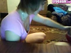Russian teens show tits in webcam