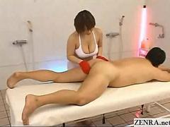 Bigtit Japan masseuse in uniform gives a handjob