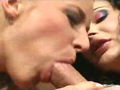 Blonde and Brunette in Cock sharing