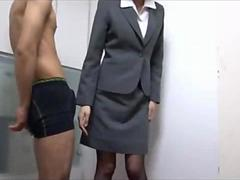 Office Lady Rubbing Guy Cock With Her Ass And Pussy Cum To Costume In The Office