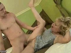 Blonde granny gets nailed by a really horny dude