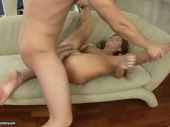 Teen giving blowjob and getting anal fucked
