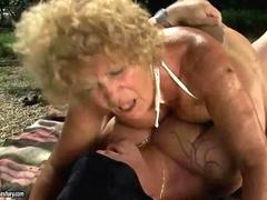 Ugly old bitch gets fucked hard in the outdoors