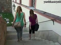 Blonde amateur payed for sex in public with horny stranger