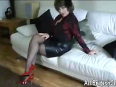 British Mature Beauty In Leather Skirt And Patent Red Heels british euro brit european cumshots swal