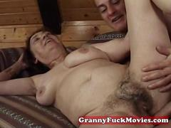 Jack is fucking a hairy granny pussy