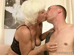 Naughty old bitch fucking with a younger boy