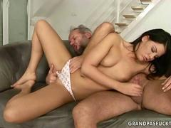 Old dude with a beard gets his dick sucked hard
