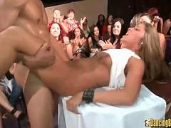 Hot Blonde Fucked and Facialized by Stripper in Front of Everyone