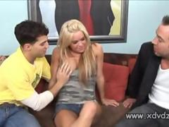Blonde Girl Crista Moore Loses Her Purse To A Thief And Consoles Herself Fucking 2 Guys