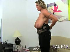 Mature woman fucking on leather bed feature