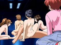 Naked hentai girls face sitting cunt starved guy in group sex film