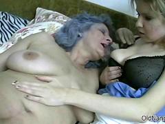 Granny with big tits and grey hair goes
