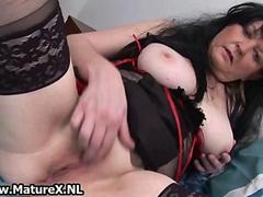 Granny in sexy black lingerie loves