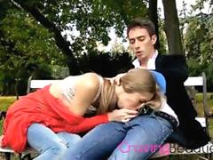 Long Haired Skinny Brunette Outdoor Sex On A Bench