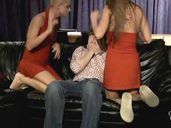 Lucky boy threesome with his blonde flat mate girls