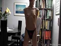 Skinny anorexic babe posing