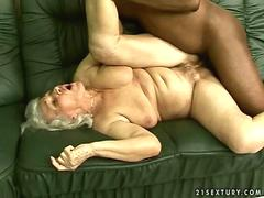 Naughty old chick fucks her younger hung black boyfriend
