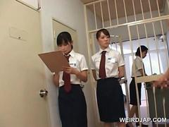 Asian slutty police women rubbing convicts dicks in a row