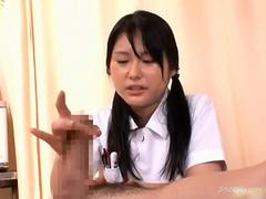 Hot Asian nurse gives her horny patient a hot handjob