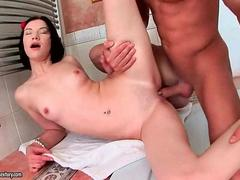 Cutie gets anal fucked in the bathroom