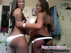 Sexy black strippers show off their asses on a webcam