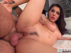 Italian hottie Valentina Nappi gets banged hard until a sticky load oozes out of her pussy.