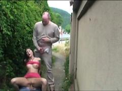 Nice tits babe gets hard fuck by two big cock guys