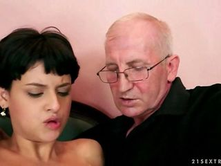 Teen fucking with a horny old man