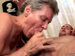 Busty mature woman enjoys hot sex with a young man