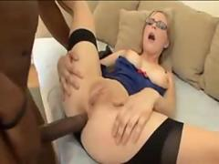 Blonde Teen in high heels and stockings enjoys interracial anal