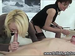 Mature Lady Sonia femdom blowjob for the bound dude