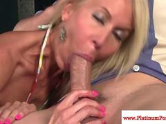 Mature milf Erica Lauren gets a mouthful of cock