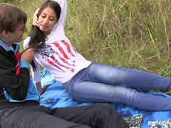 Skinny teen Paula gets fucked outdoors