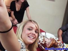 Real party teens jerking a dick while eating dinner
