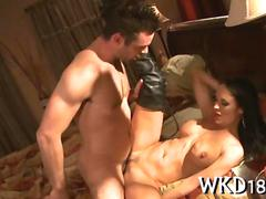 Hot milf bitch in leather boots fucks her brains out