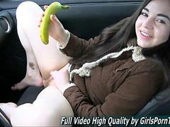 Amateur teen Nadine goes bananas in the car