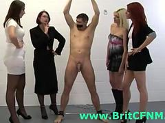 Bound man jerked off by British CFNM women