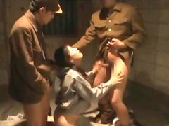 Nasty jap army dudes get blown by a sex slave
