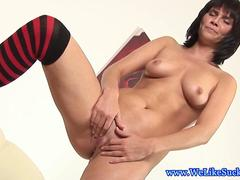 Blowjob loving brunette chows down on dick