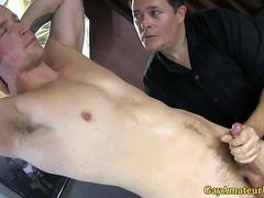 Gaystraight amateur sucked and tugged by a horny dude