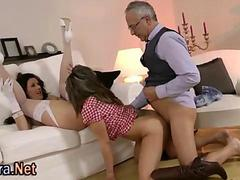 British milf threesome as the old man gets his share