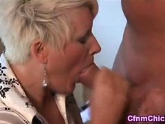 Mature clothed domina jerks off the old man