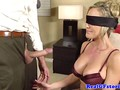 Blindfolded blonde housewife sucks a stiff dick