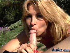 Blonde milf Tara fucks in the garden