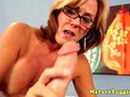 Spex milf cougar giving a tugjob